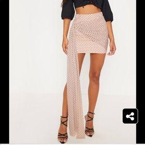 Pretty little thing nude mesh polka dot skirt